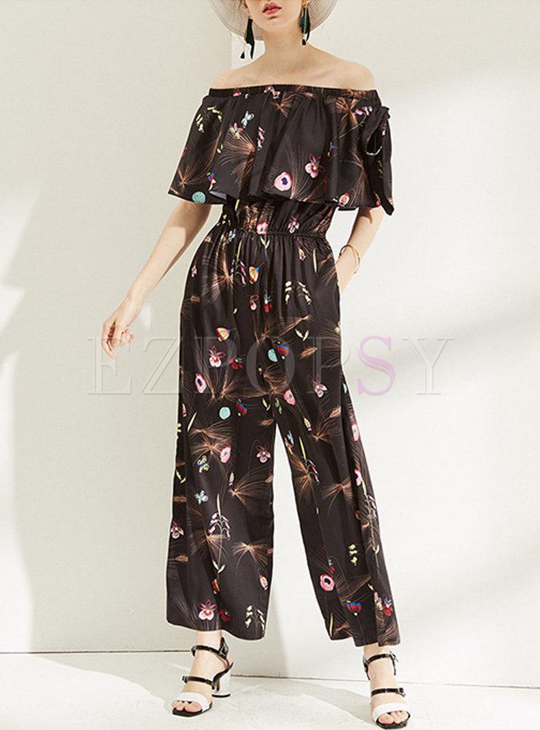 Casual Slash Sleeve Print Straight Jumpsuit
