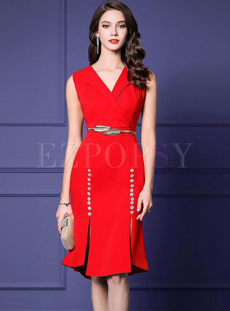 Elegant Lapel Sleeveless Slit Bodycon Dress