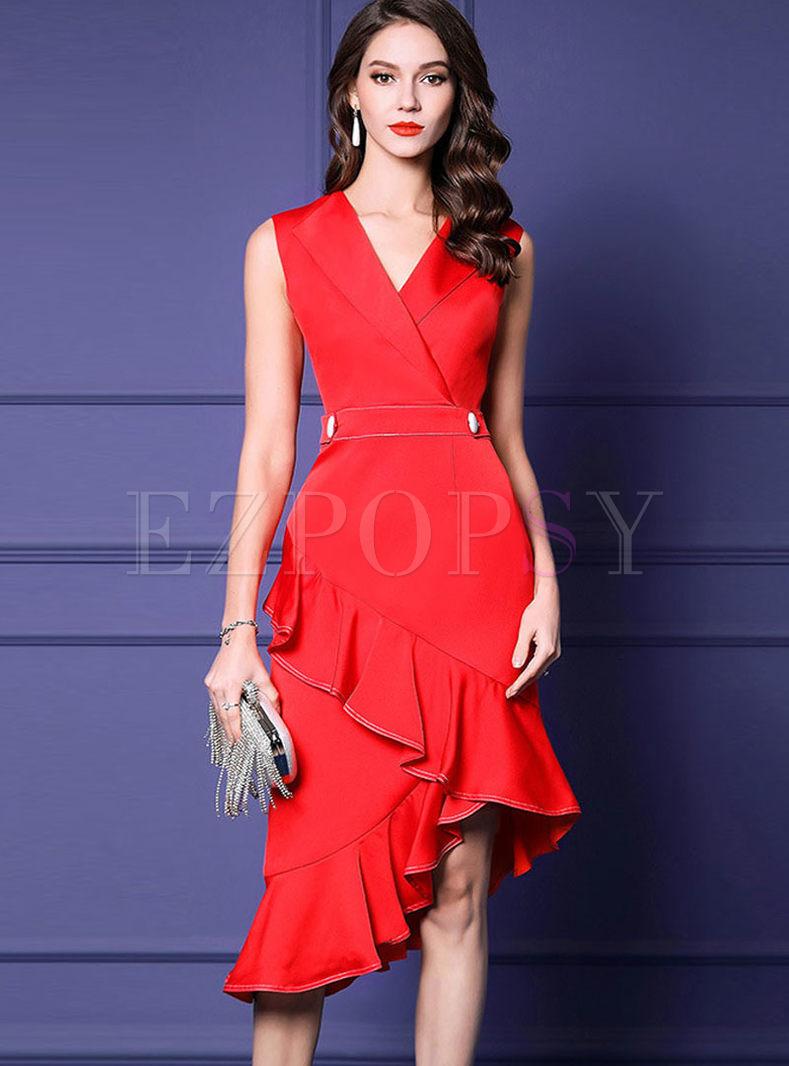 Lapel Sleeveless Asymmetric Falbala Dress