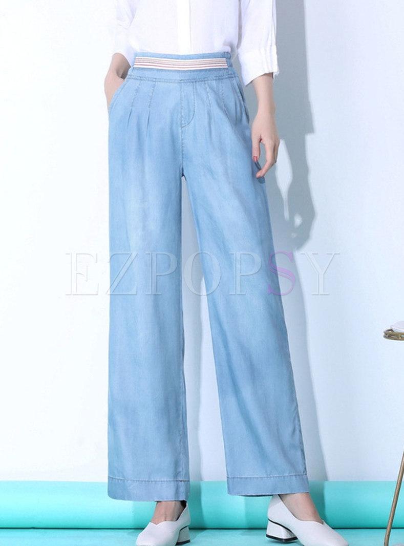 Brief Blue Thin Comfortable Wide Leg Pants