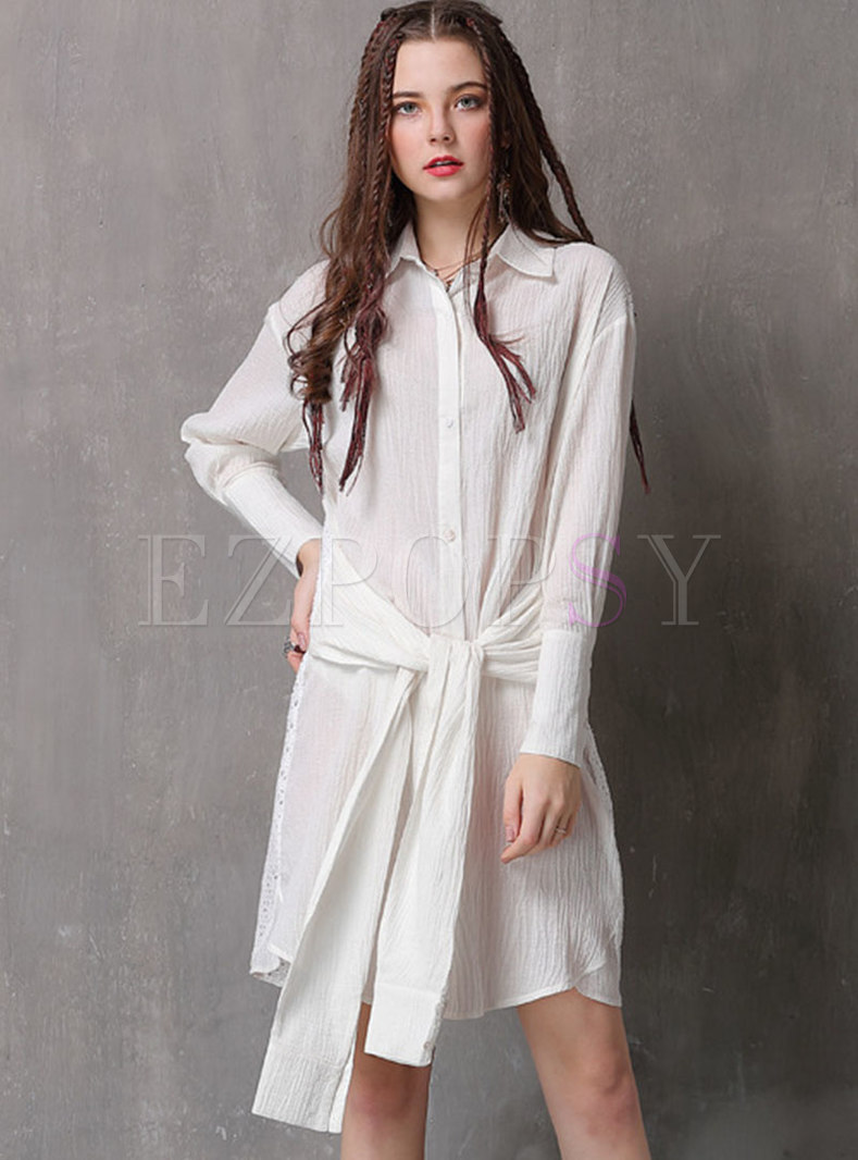Lace Splicing Lapel Tie-waist Shirt Dress