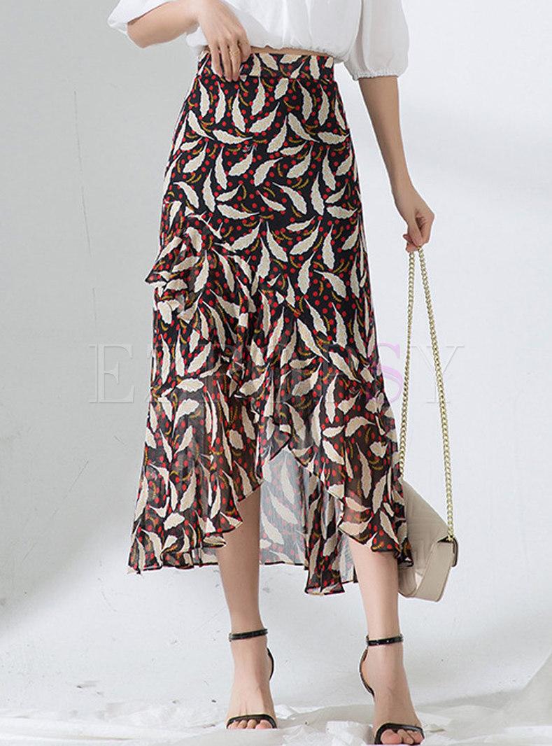 Fashion Floral Print Asymmetric Chiffon Skirt
