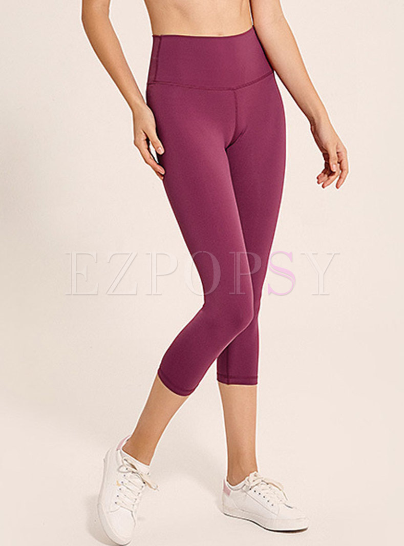 Solid Color Breathable Ankle-length Slim Yoga Pants