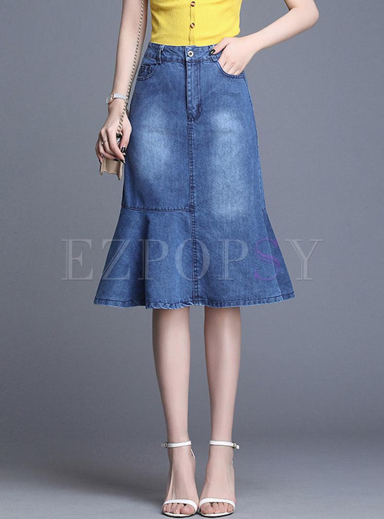 Stylish Denim Pure Color Sheath Mermaid Skirt