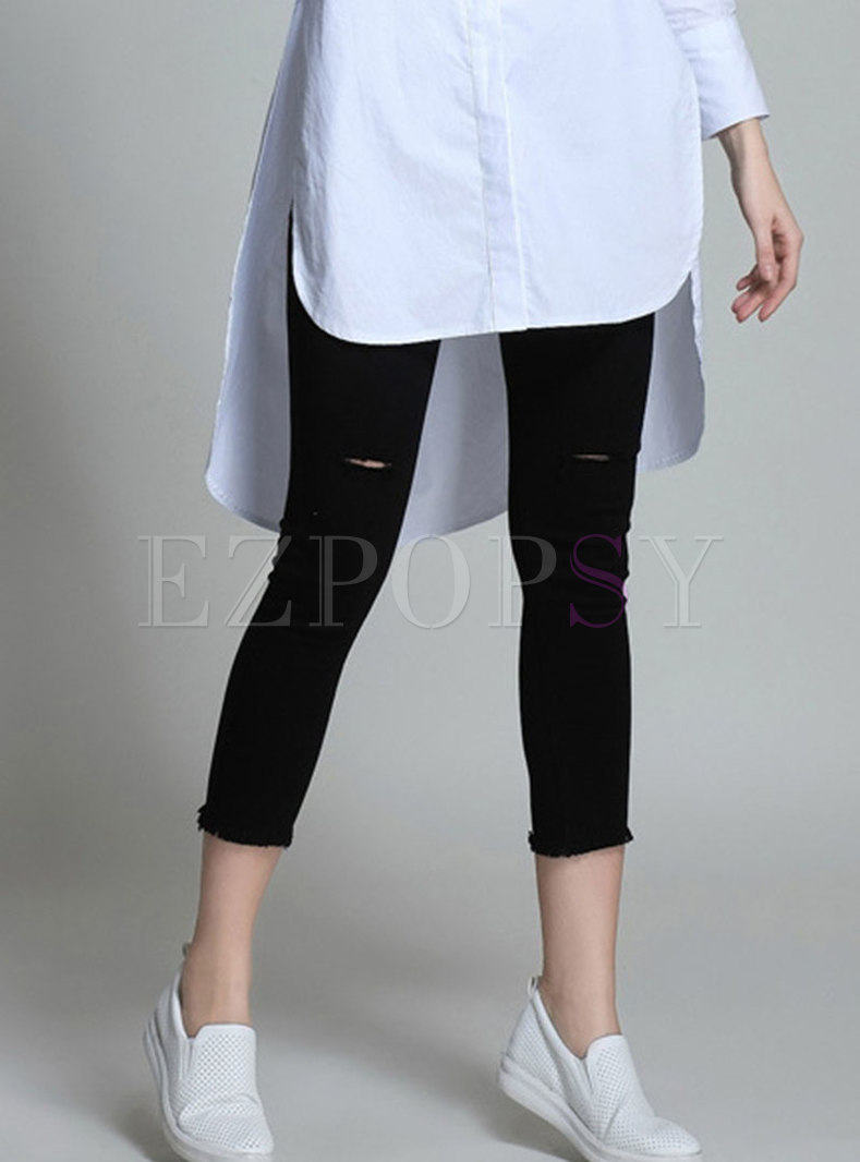 Solid Color Holes Elastic Slim Leggings