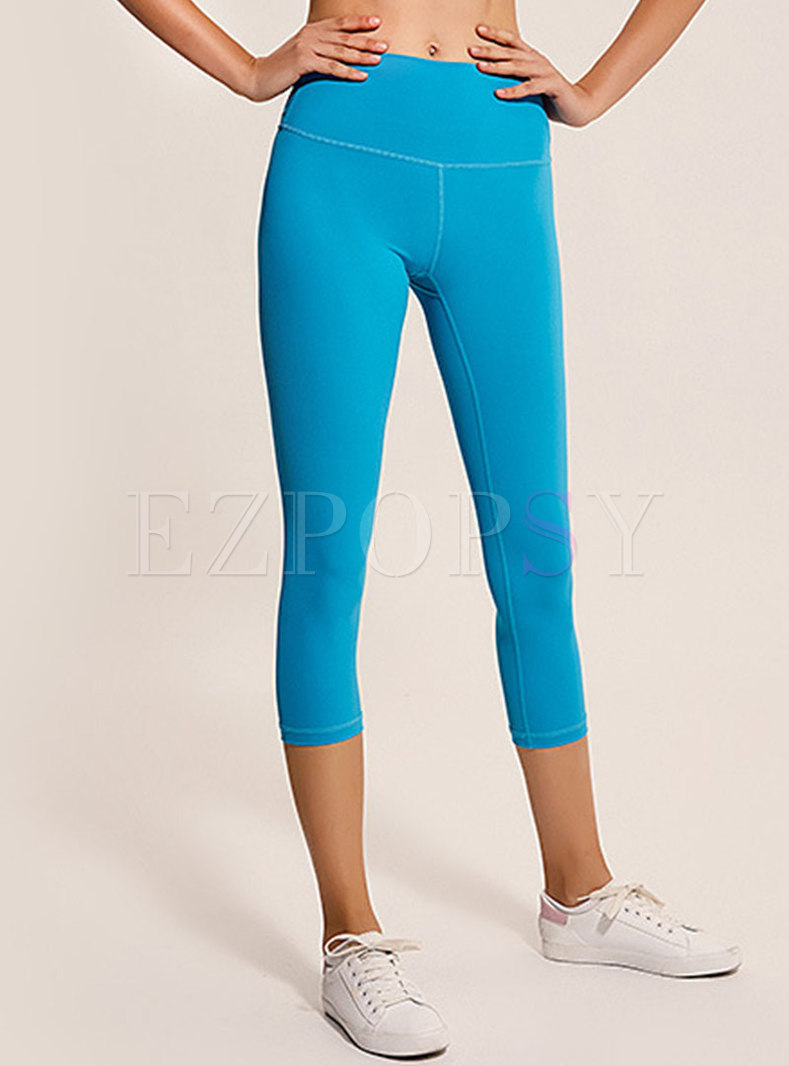 Pure Color Breathable Ankle-length Slim Yoga Pants