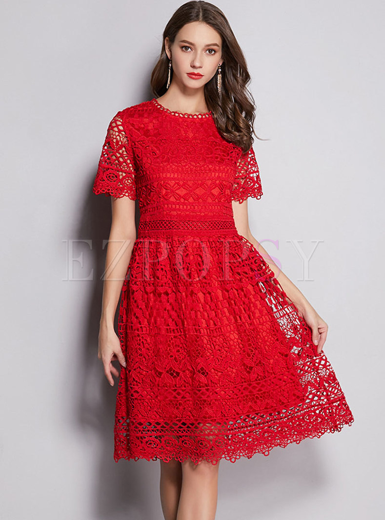 Pure Color Lace Hollow Out Slim Skater Dress