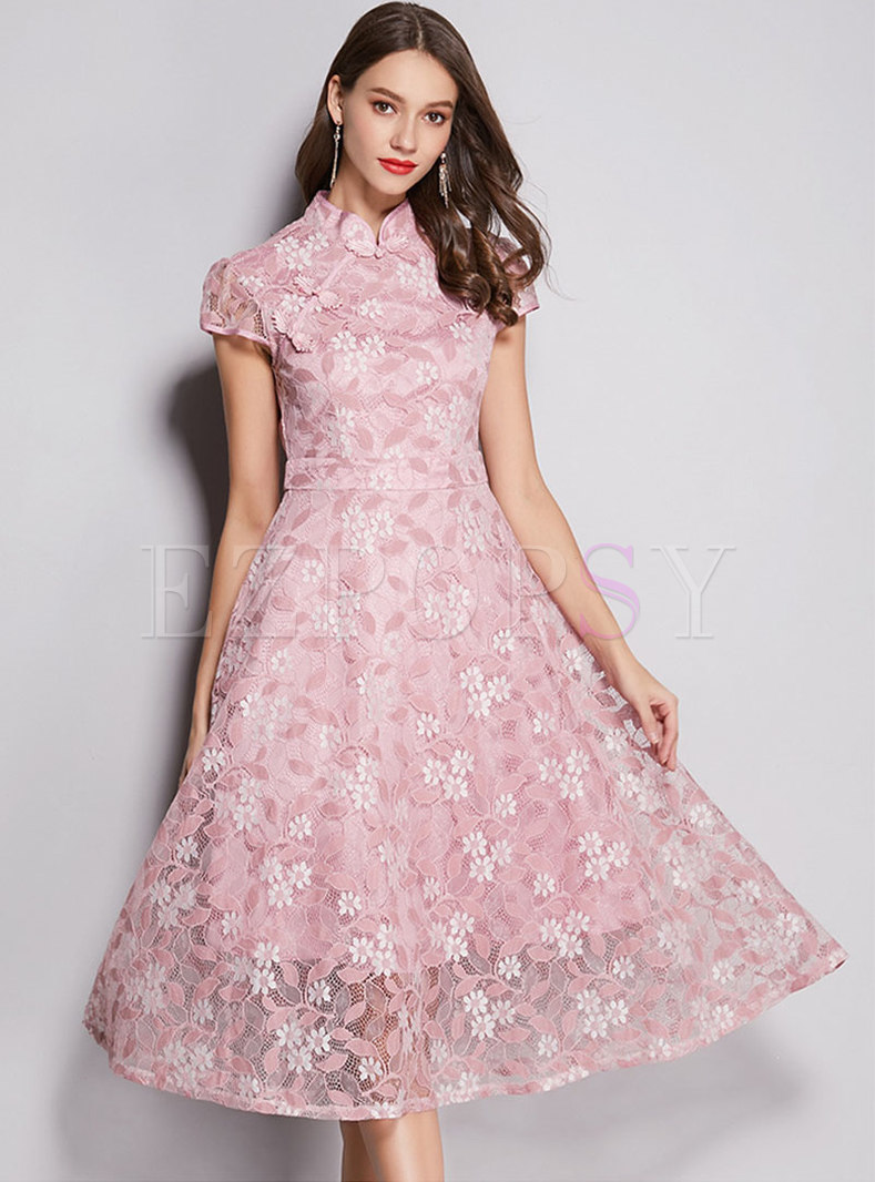 Vintage Lace Stand Collar High Waist Skater Dress