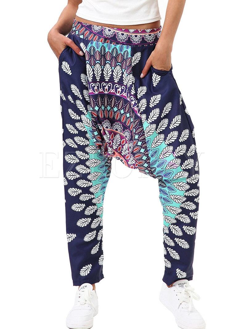 Casual Digital Print Loose Fitness Pants