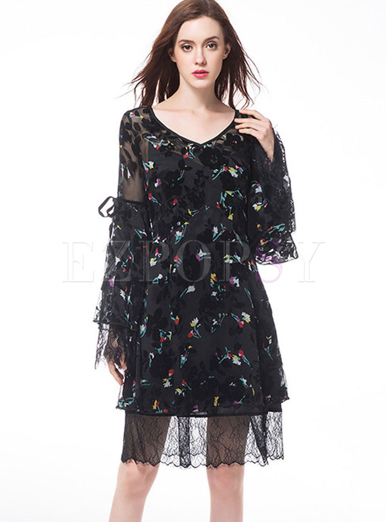 V-neck Slim Perspective Chiffon Dress With Cami