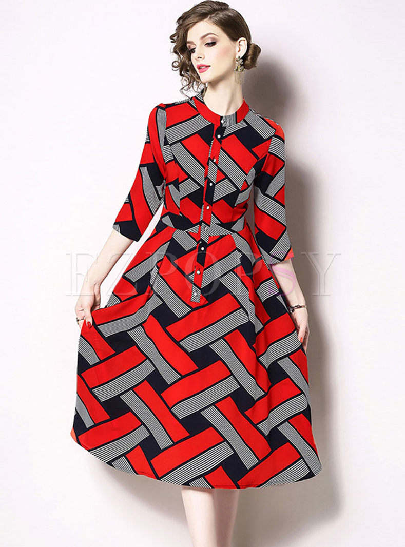 Three Quarters Sleeve Geometric Print Dress