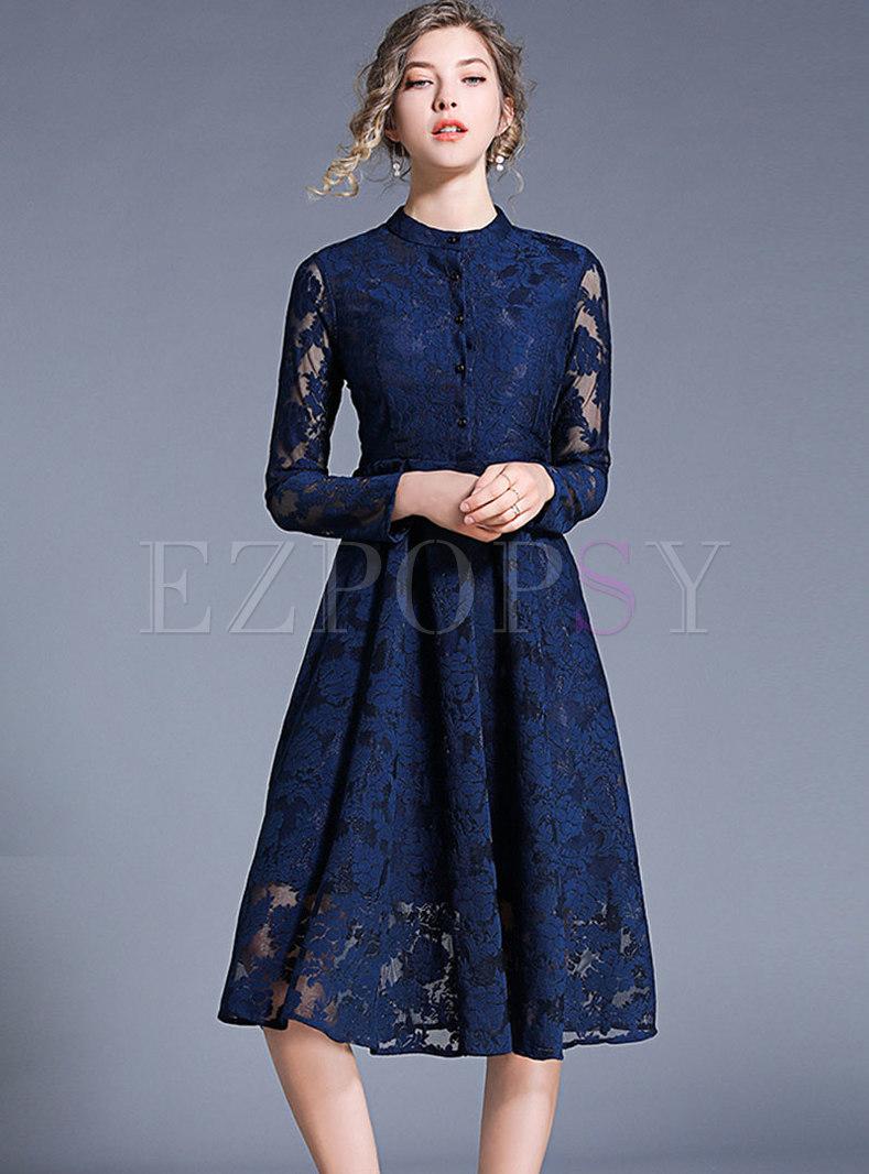 Elegant Lace Pure Color Embroidered Skater Dress