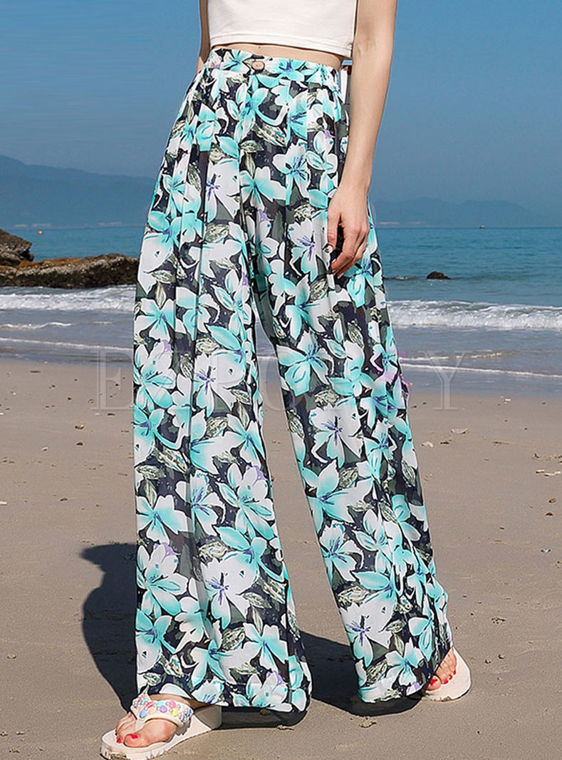 Casual High Waist Wide Leg Beach Pants