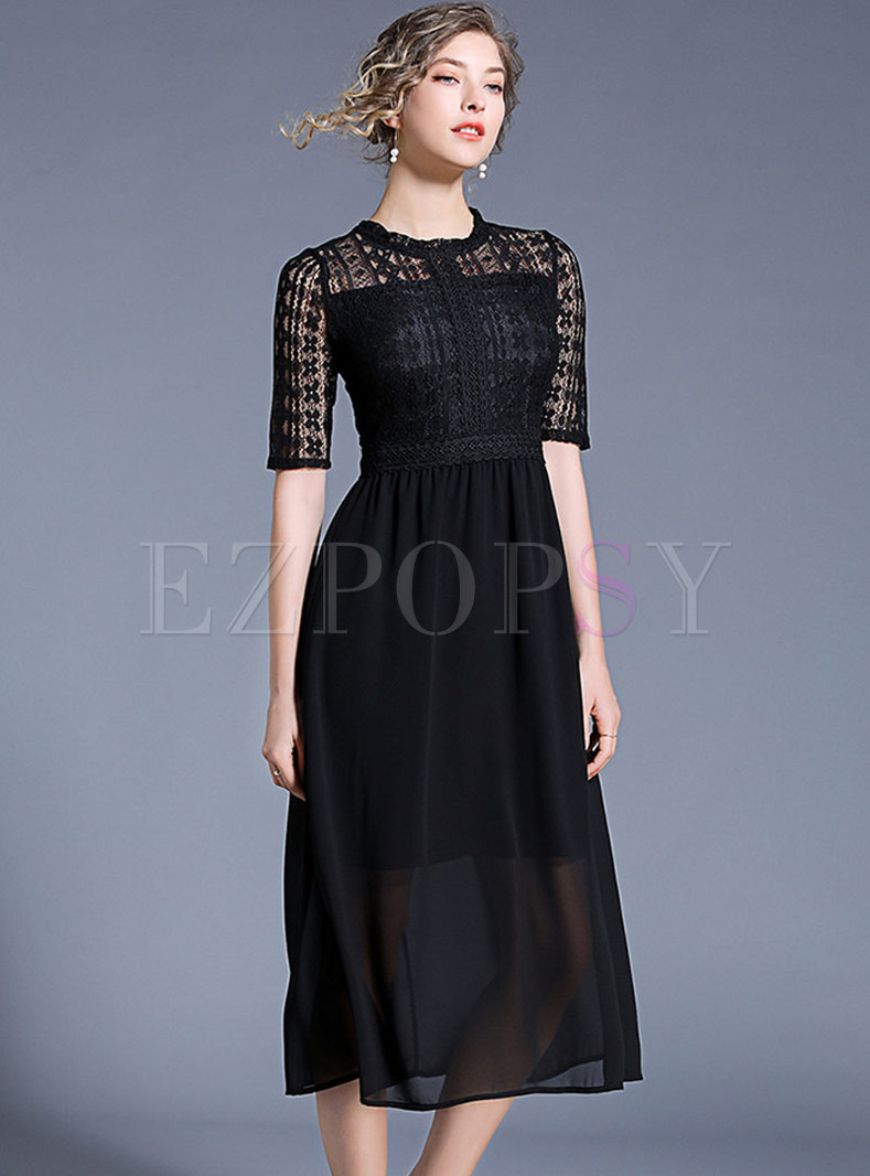 Elegant O-neck Black Lace Big Hem Dress