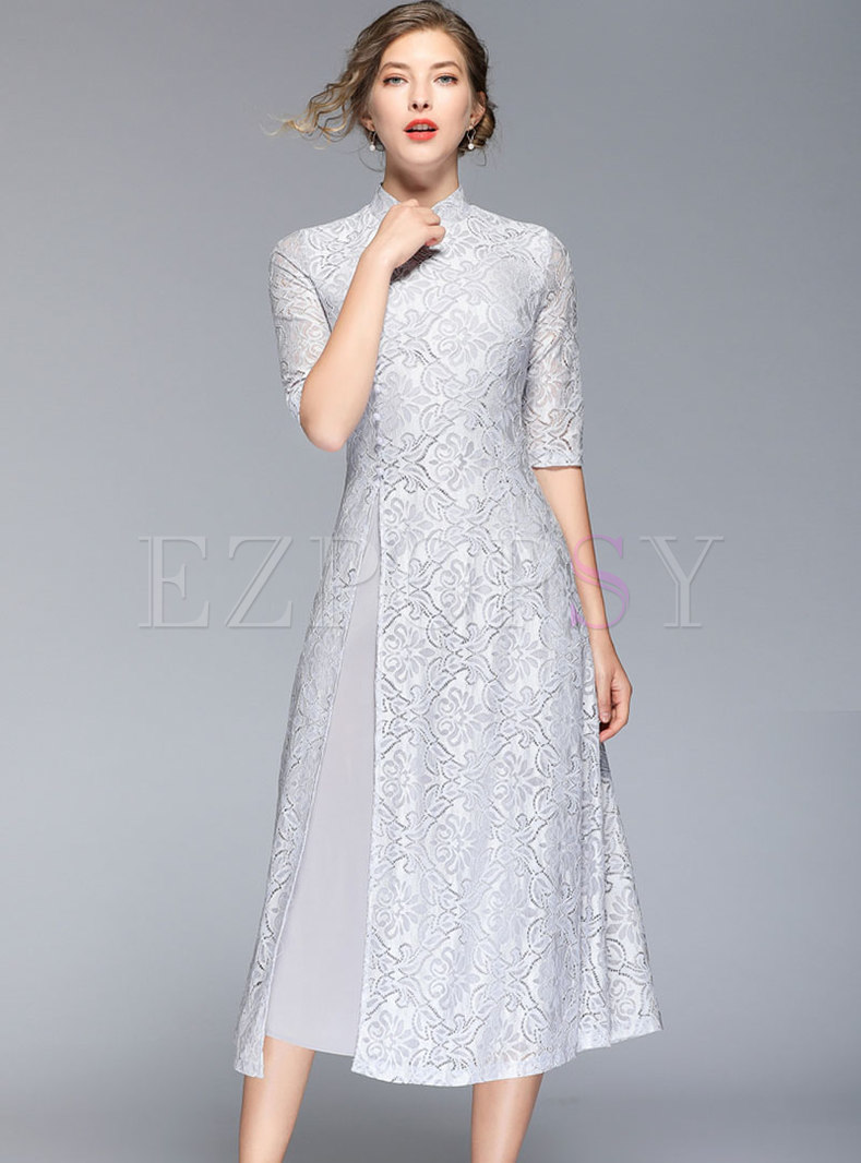 Stand Collar Lace Splicing Chiffon Skater Dress
