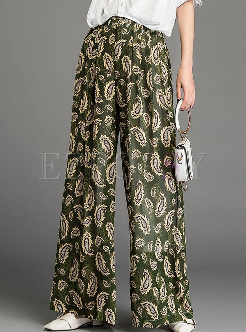 Casual Elastic Waist Wide Leg Chiffon Pants