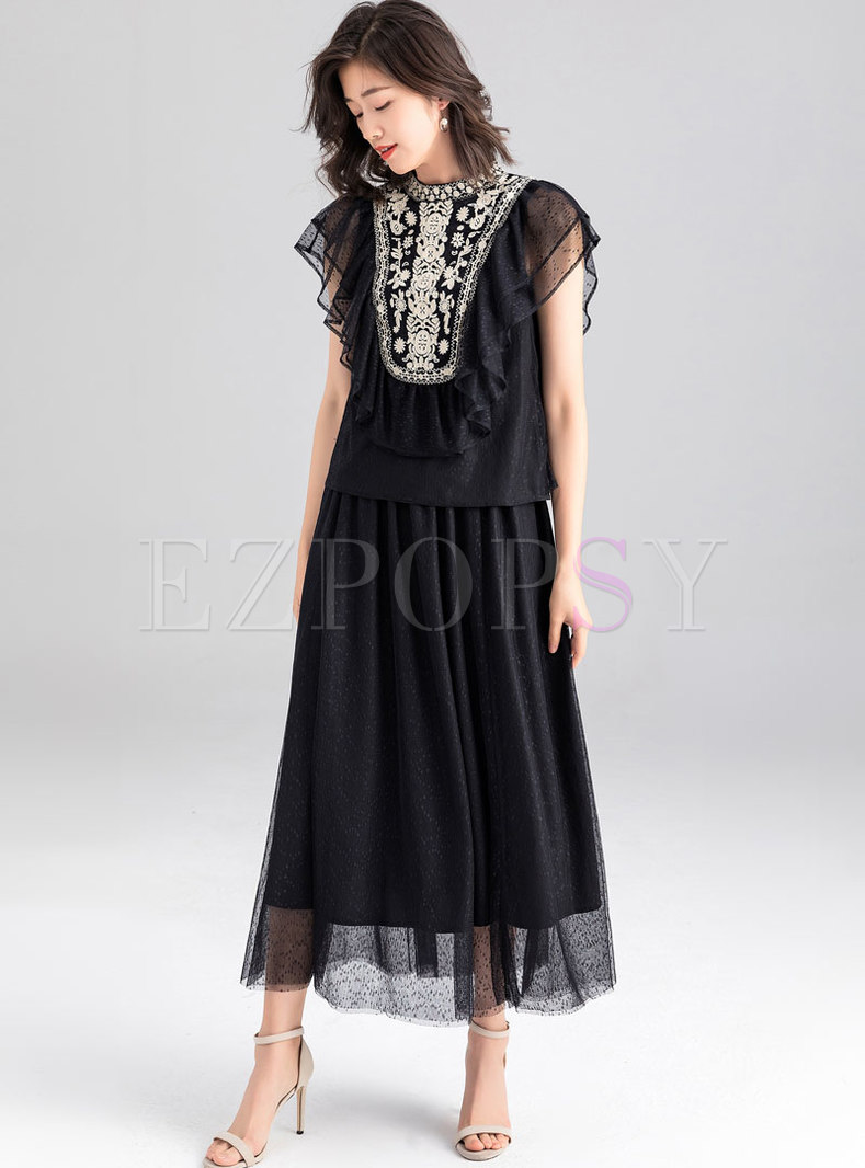 Stylish Embroidered Mesh Splicing Black Two-piece Dress