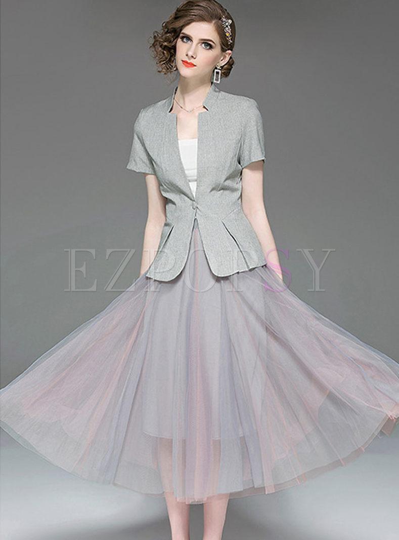 V-neck Short Sleeve Coat & Mesh Big Hem Skirt