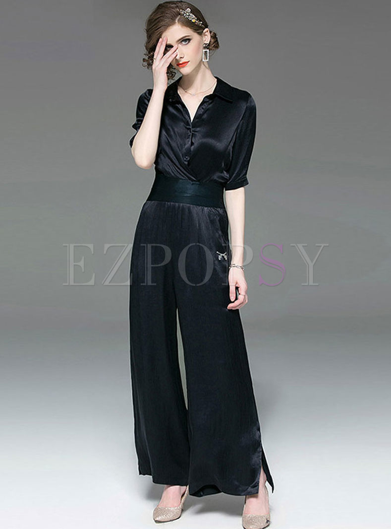 Brief Solid Color Slim Two Piece Outfits