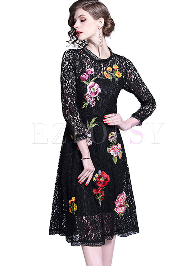 Sexy Lace Embroidered Perspective A Line Dress