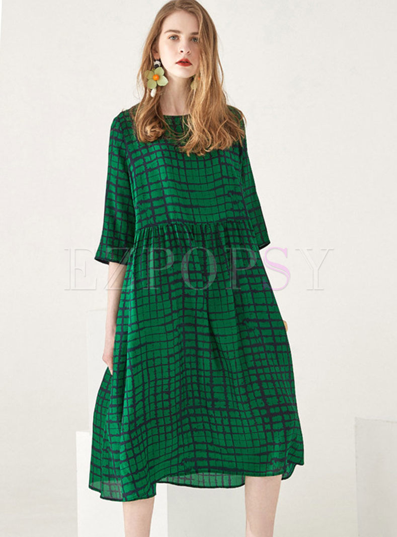 Plus Size O-neck Half Sleeve Plaid Dress