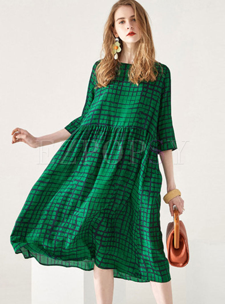 Dresses | Shift Dresses | Plus Size O-neck Half Sleeve Plaid Dress