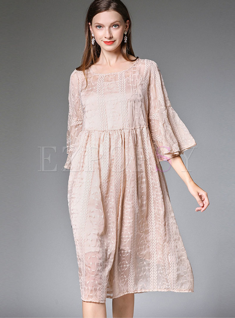 Brief Embroidered Chiffon Shift Dress With Camis