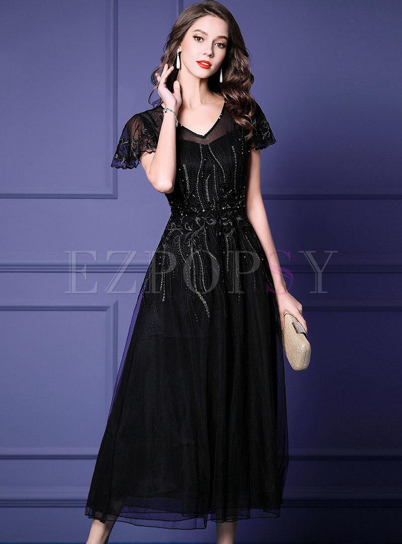 V-neck Mesh Embroidered High Waist Maxi Dress