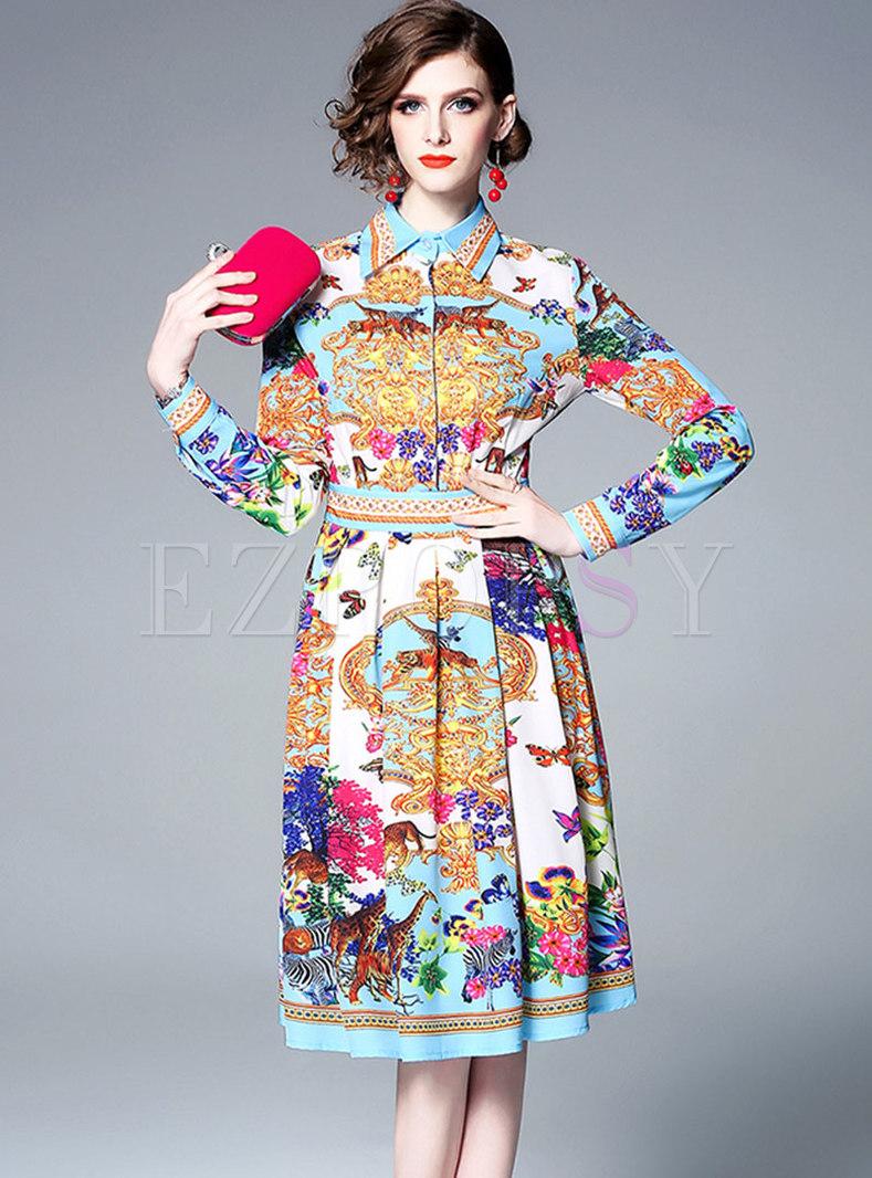 Stylish Print Lapel High Waist Midi Dress