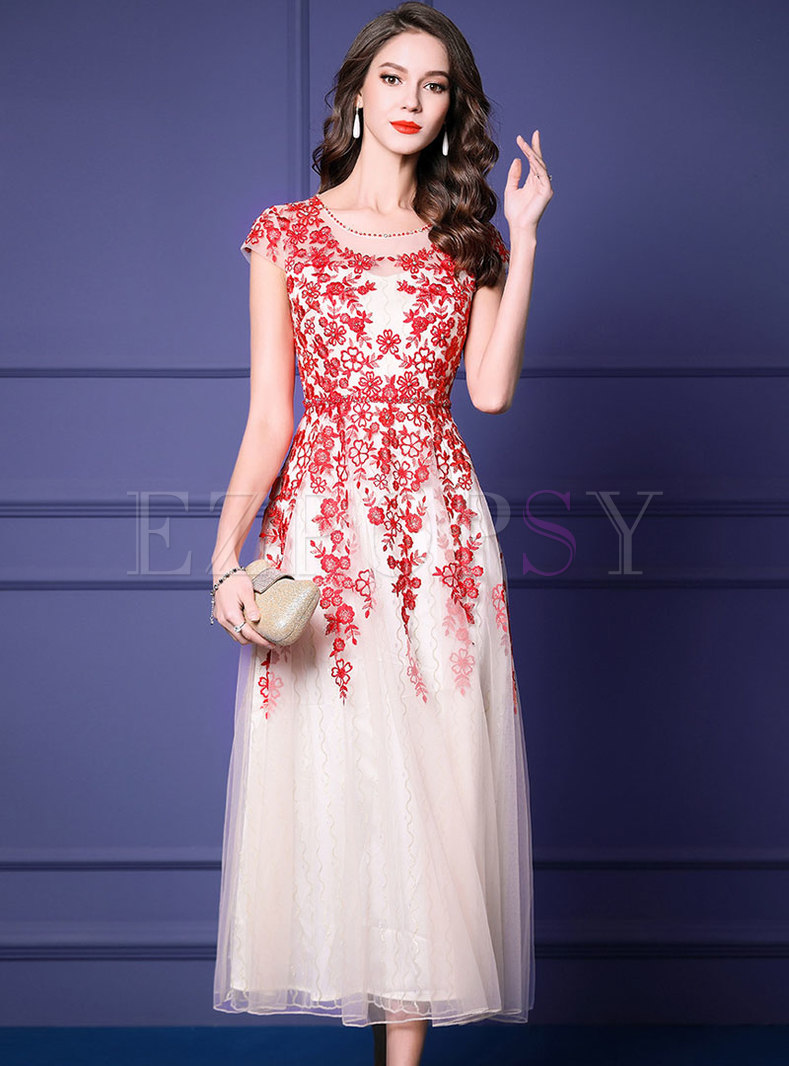 Stylish High Waist Embroidered Diamond Mesh Maxi Dress