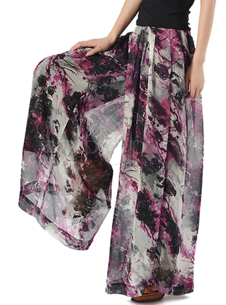 Fashion Print Casual Wide Leg Pants