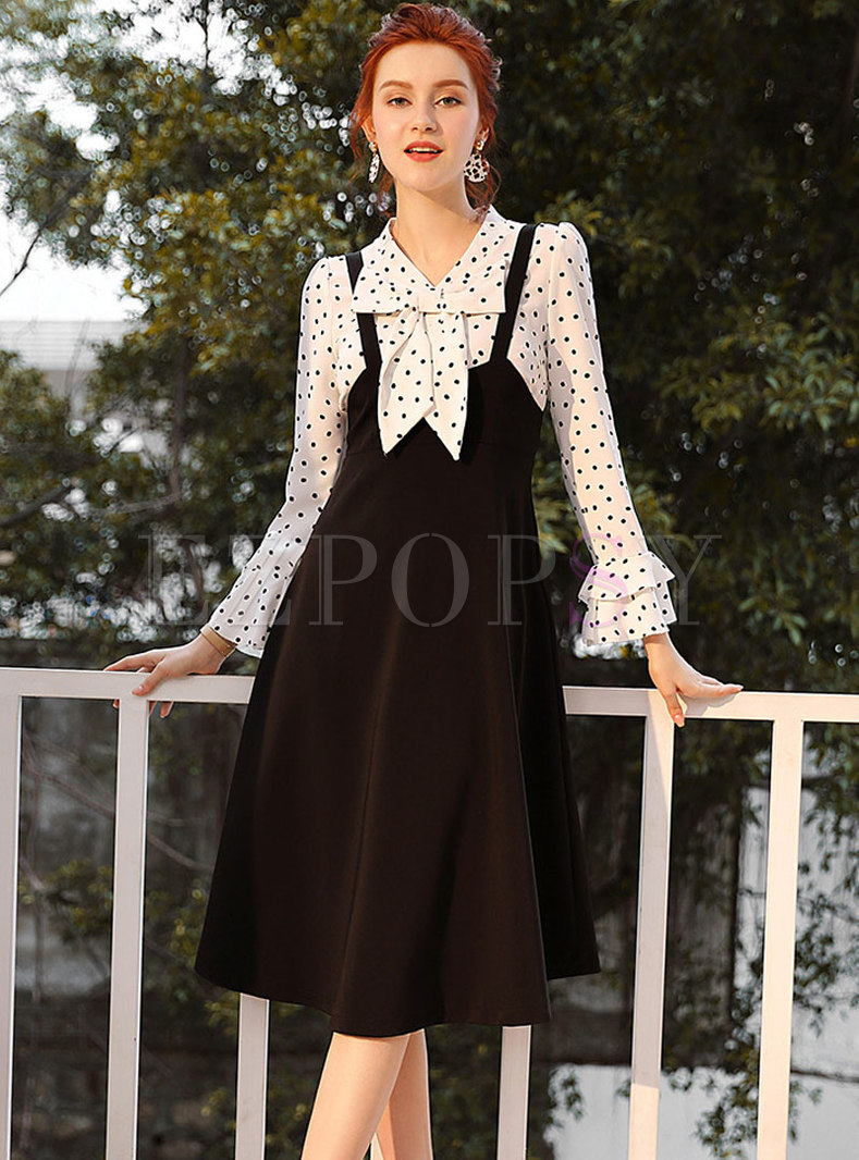 Trendy Polka Dot Flare Sleeve Blouse & A Line Skirt