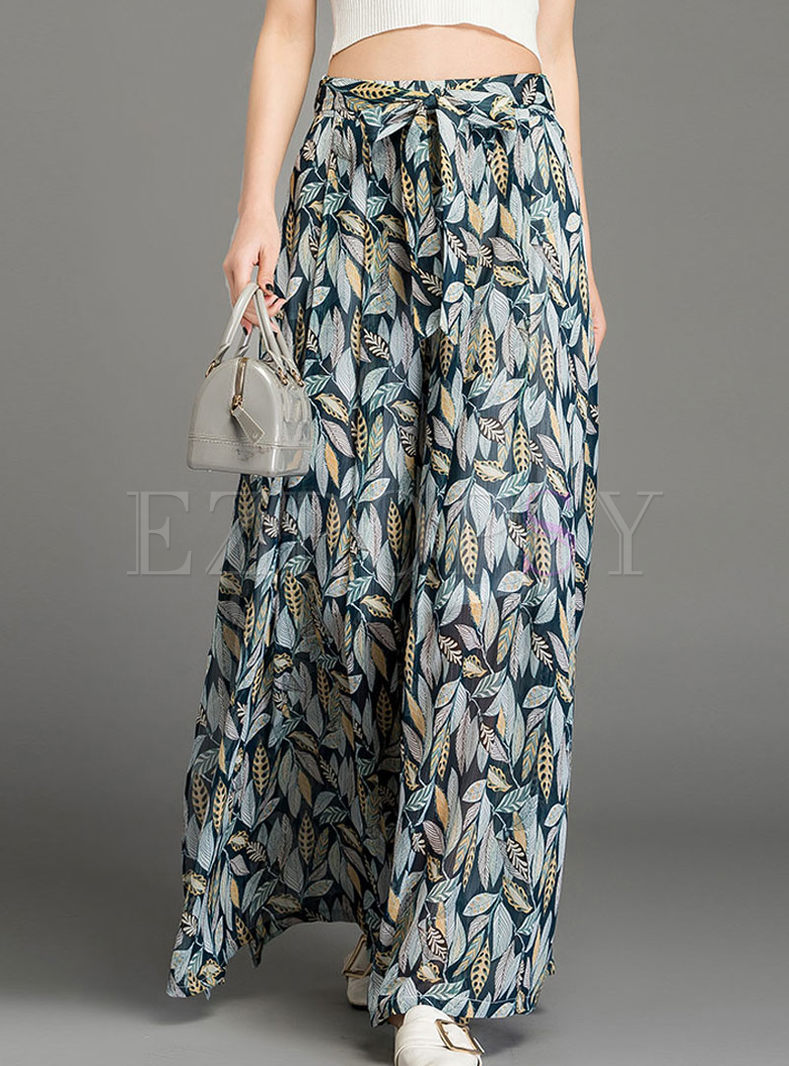 Trendy Leaf Printed Slit Wide Leg Pants
