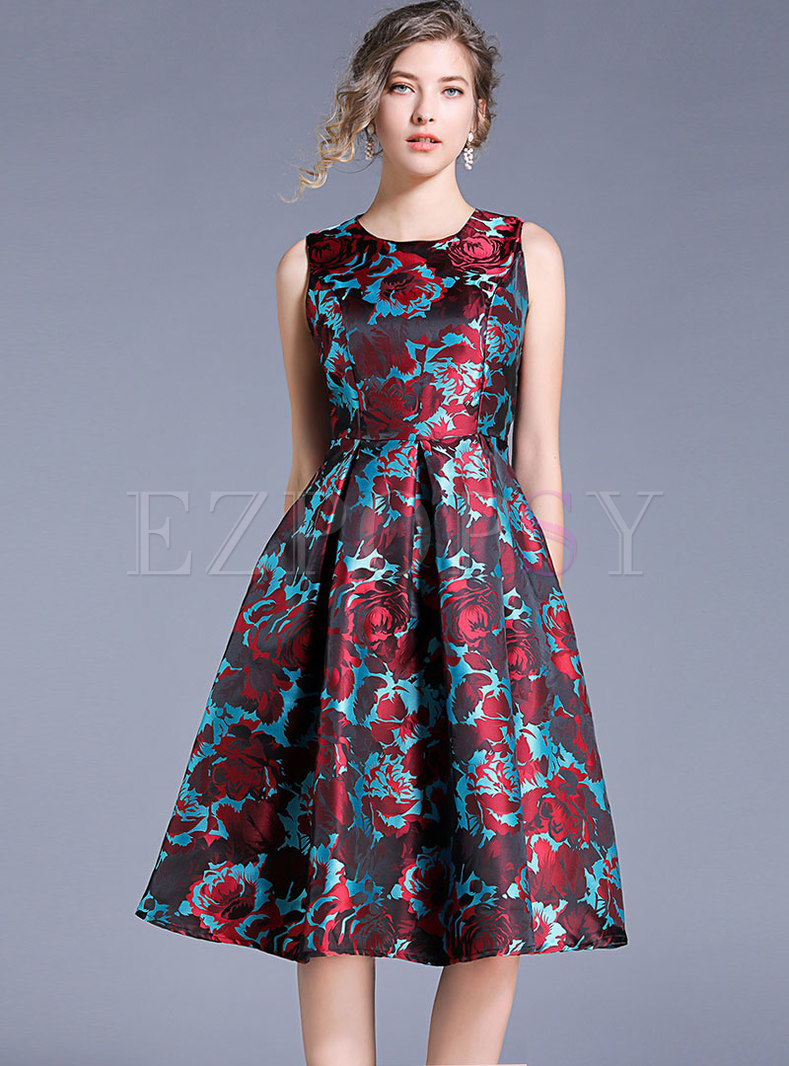 Fashion Sleeveless O-neck Jacquard Skater Dress