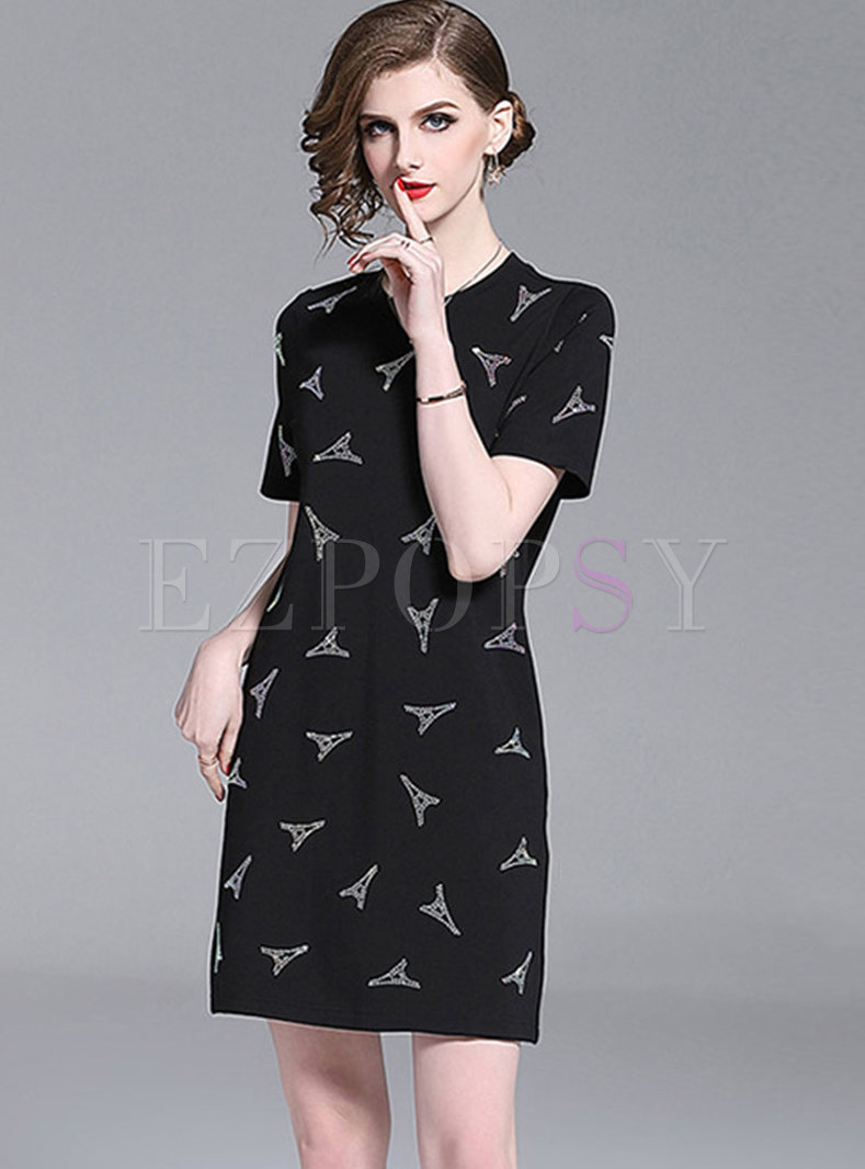 Casual O-neck Drilling Shift Dress