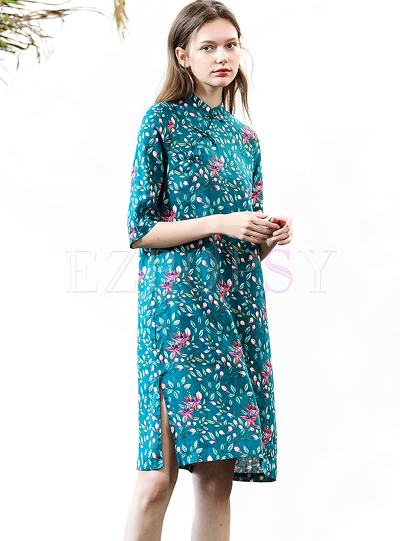 Ethnic Style Print Button Retro Shift Dress