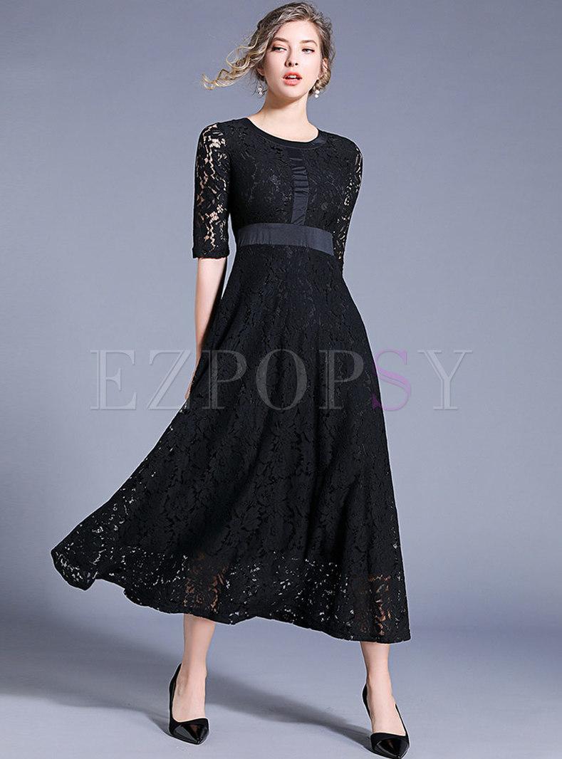 Trendy Pure Color Lace Jacquard Maxi Dress
