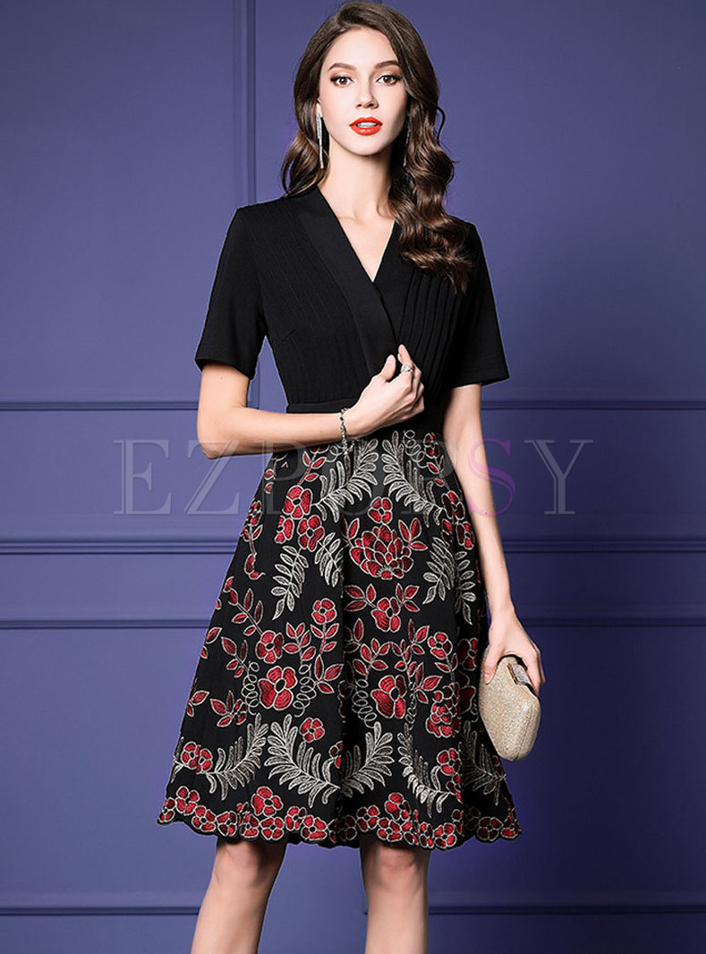 Elegant V-neck Embroidered Patchwork Skater Dress