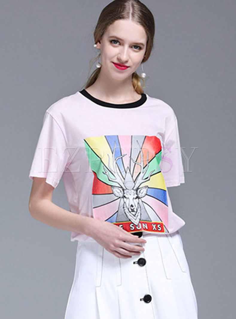 Color-blocked O-neck Cartoon Print T-shirt
