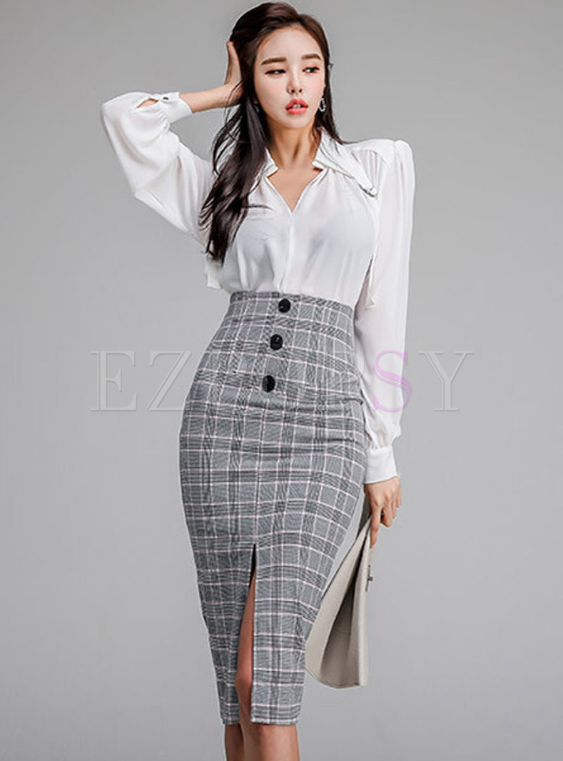 Elegant Solid Color Blouse & Plaid Split Sheath Skirt