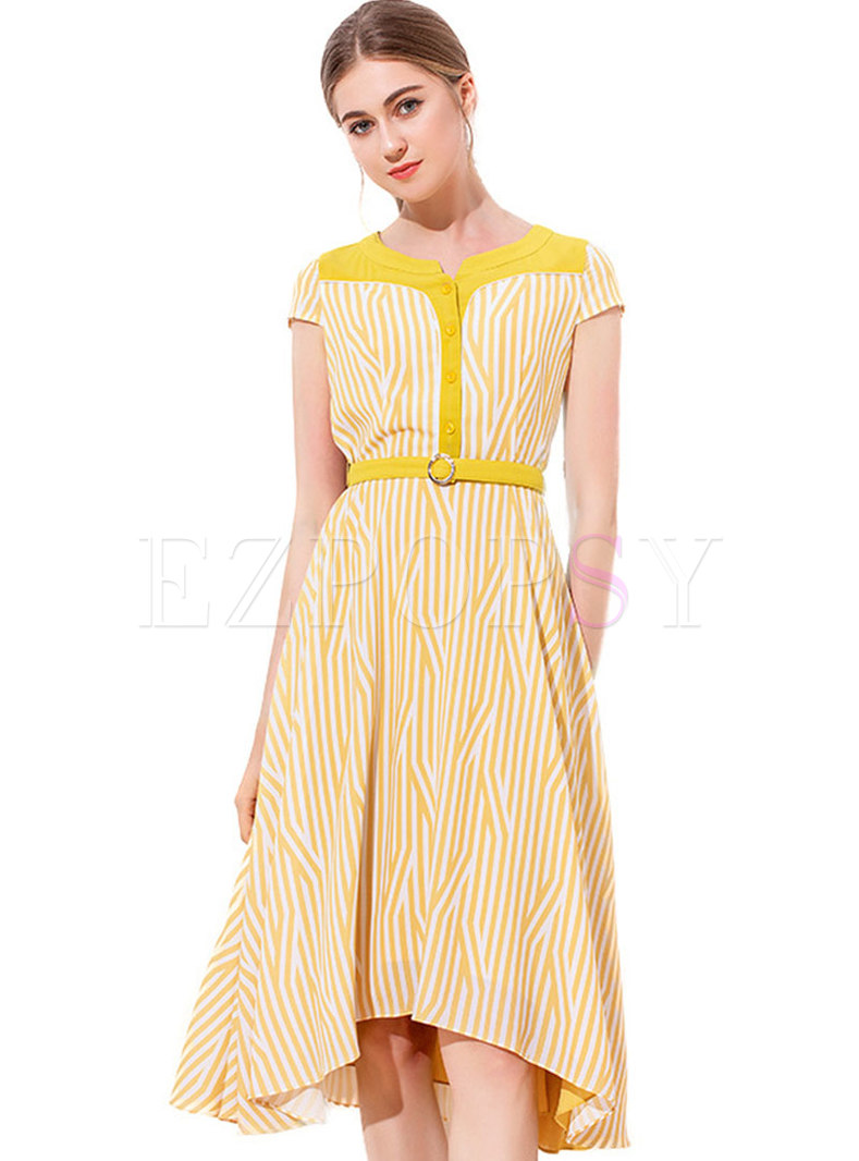 Chic Striped Belted Asymmetric Midi Dress