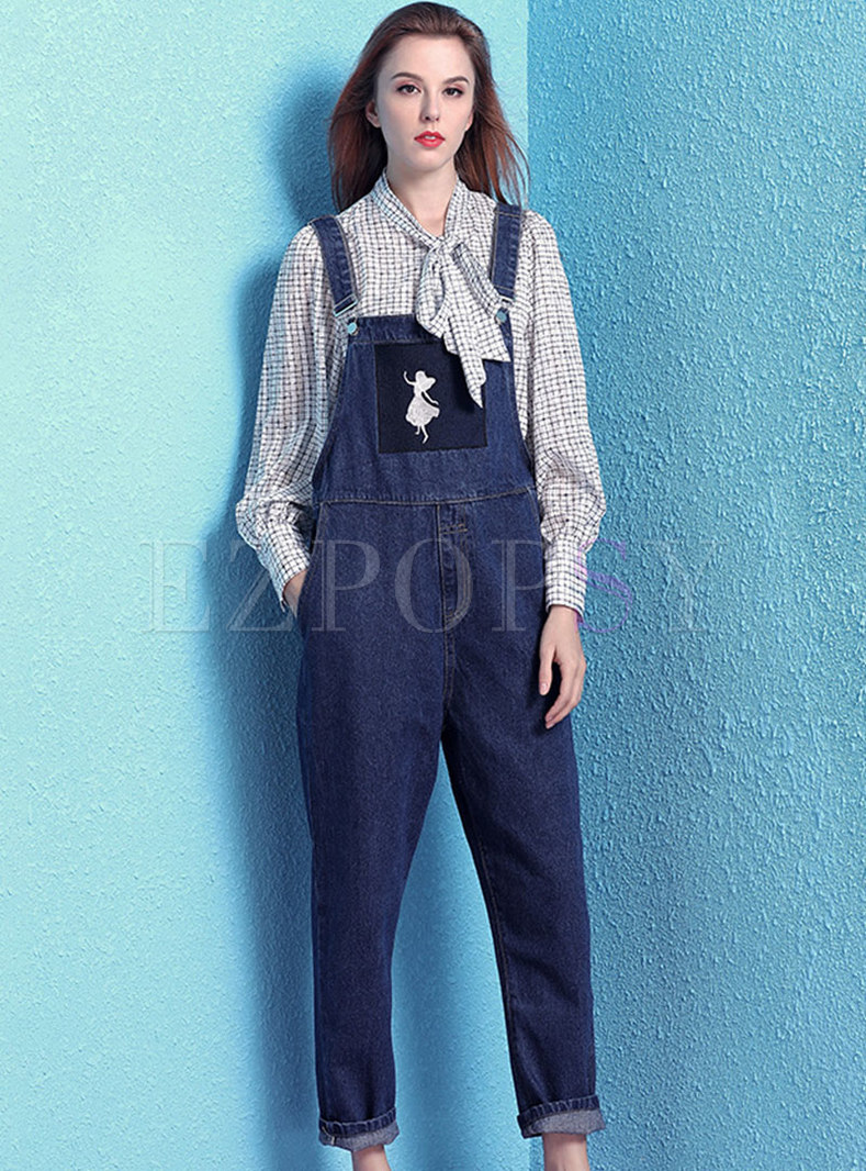 Casual Denim Embroidered Loose Overalls
