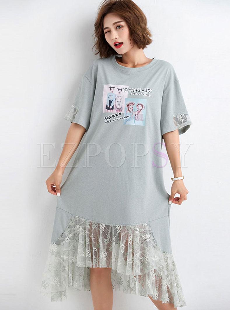 Casual O-neck Splicing Mesh T-shirt Dress