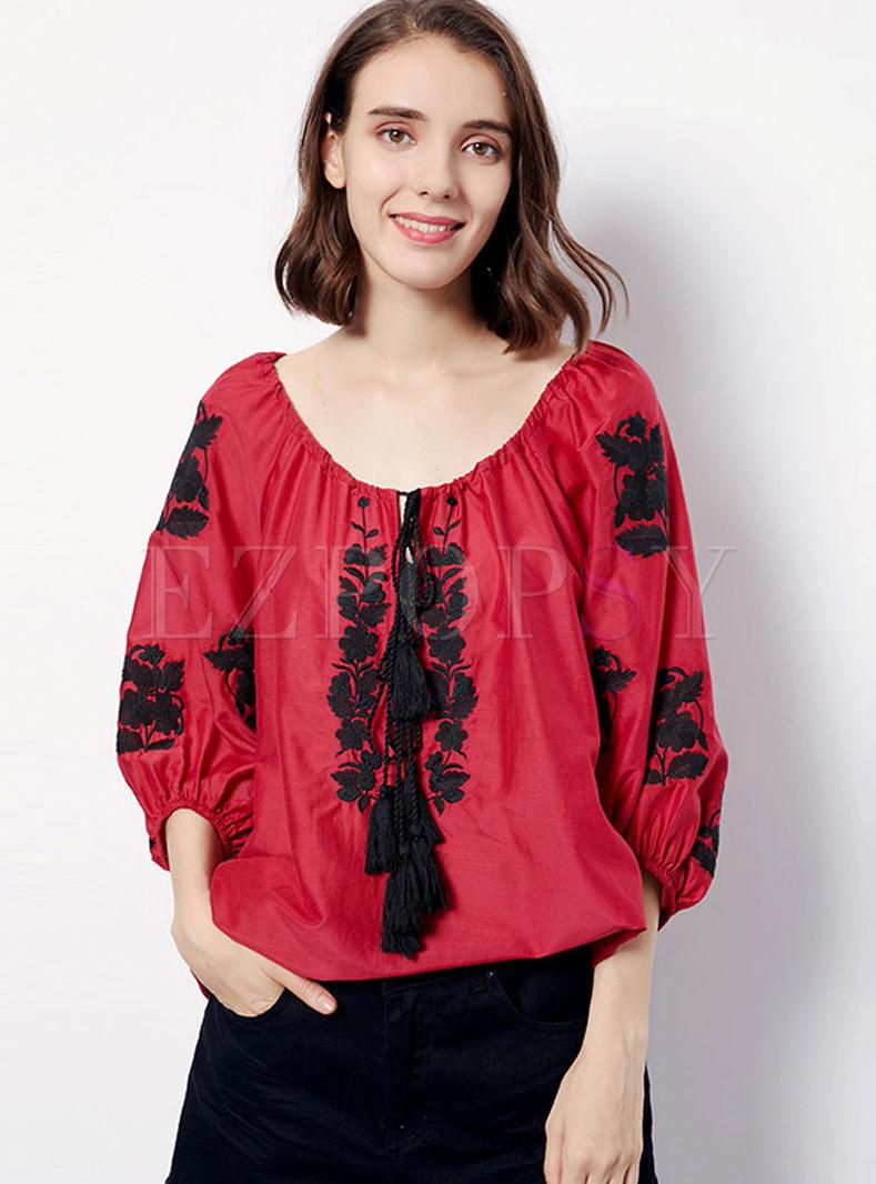 O-neck Lantern Sleeve Tassel T-shirt