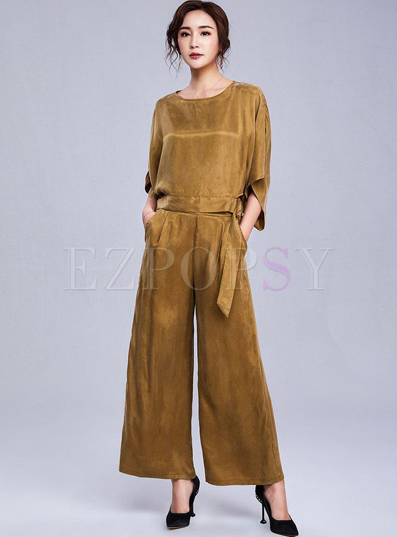 Khaki Loose Tied Pure Color Top & Wide Leg Pants