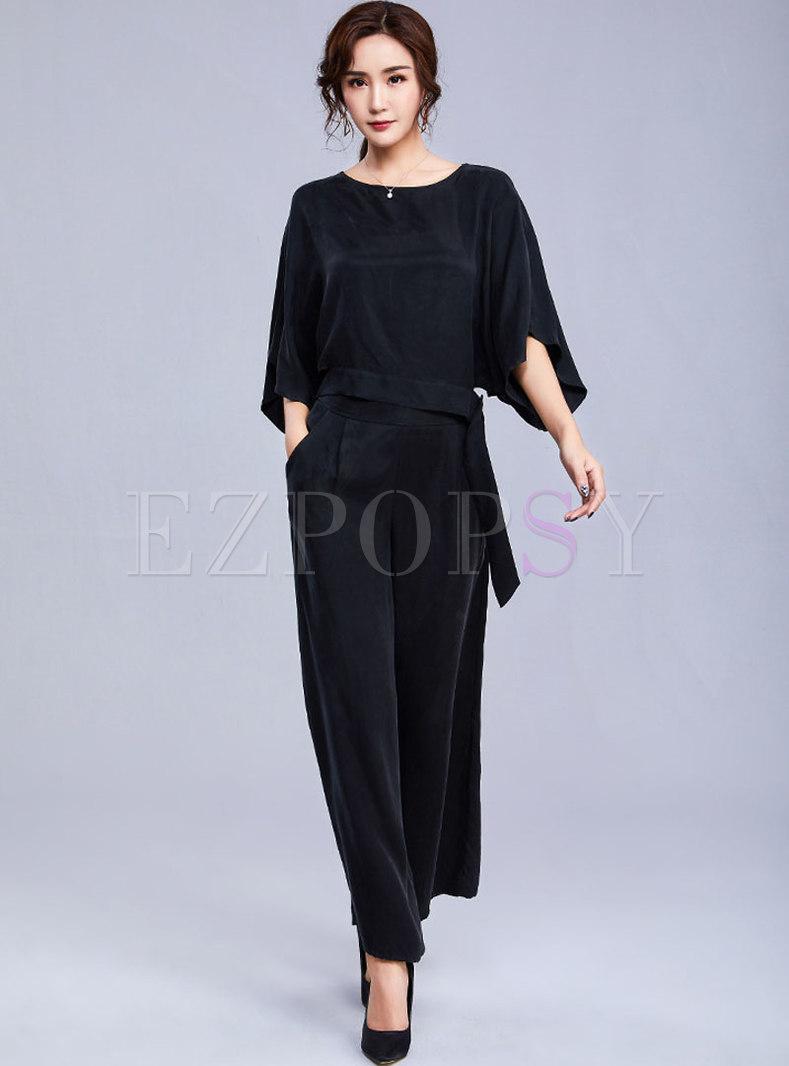 Casual O-neck Black Top & Wide Leg Pants