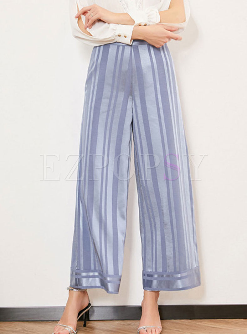 High Waist Striped Wide Leg Pants