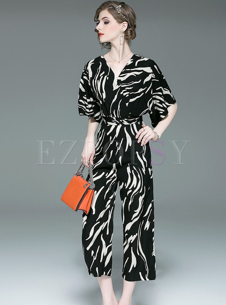 Stylish Print V-neck Belted Slim Jumpsuit