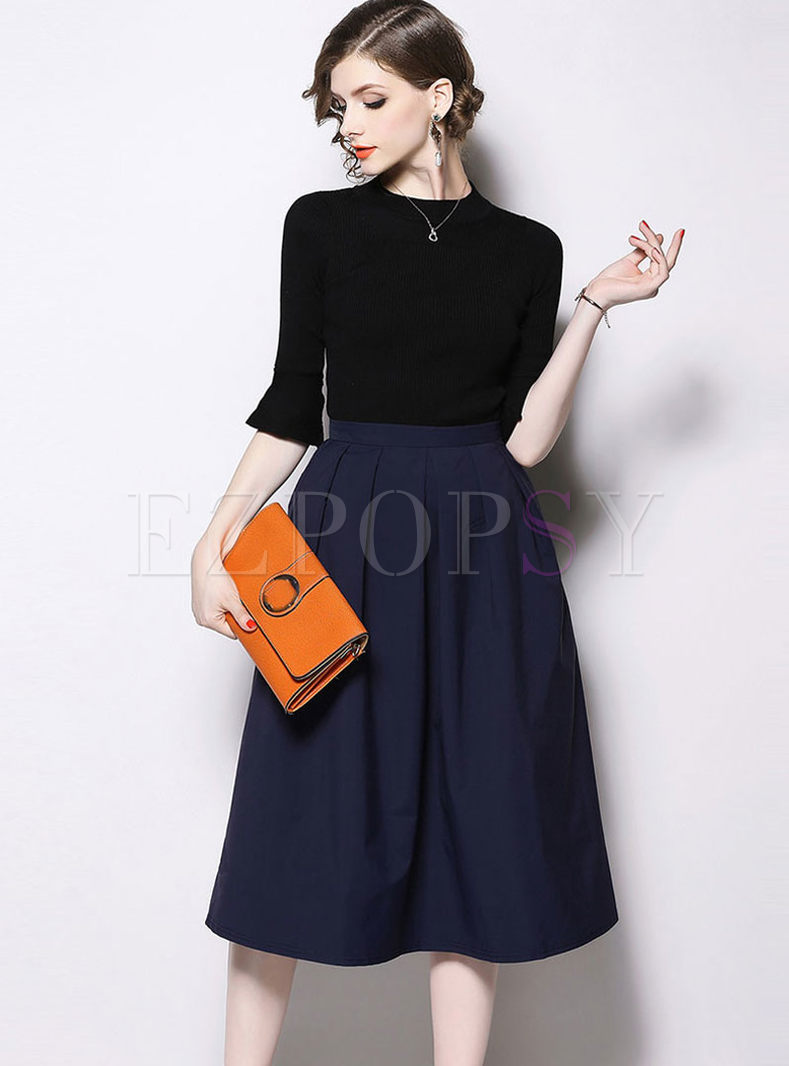 Brief Flare Sleeve Top & Big Hem A Line Skirt
