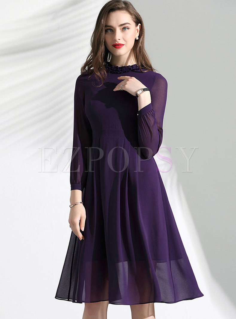 Ruffled Collar High Waist Slim A Line Dress